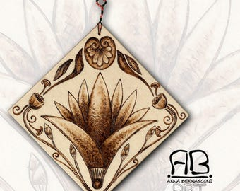 Pyrography on wood from the past-small Lotus inspired by ancient art