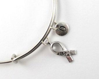 HOPE RIBBON charm bangle, hope bracelet, personalized charm bangle, initial bangle,  personalized bracelet, charm bracelet, initial jewelry