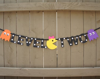Pac-man themed 'LEVEL TWO' Party Banner for 2nd Birthday, Video Game Arcade Birthday, Ms Pac-man, Ghosts, Pac Dots | Second Birthday, 2 Year