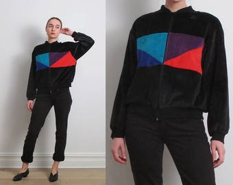80s Colorblock Velour Bomber Track Jacket / S