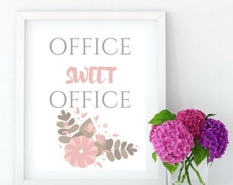 Office Sweet Office Printable Art, Typography, Office, Office Wall Decor, Printable Gift Wall Art