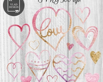 13 Watercolor Hearts Clipart Love Clipart Digital Hearts Elements Cute Love graphics Valentine's clipart Hearts Fall in love clipart