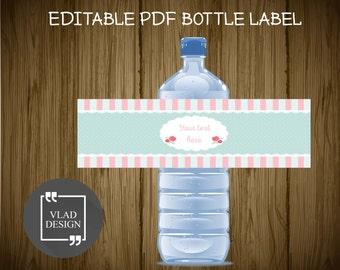 Editable Text Water Bottle Label Editable PDF Custom Bottle Label Wedding Birthday Baby shower Spring Labels Instant download