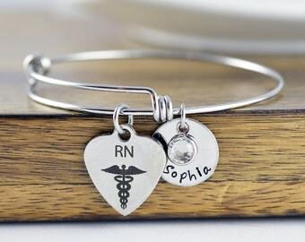 Nurse Gift - Gift for Nurse - Name Bracelet - Graduation Gift - Nursing gift - RN gift - Nursing student - Nurse appreciation - Bff Gifts