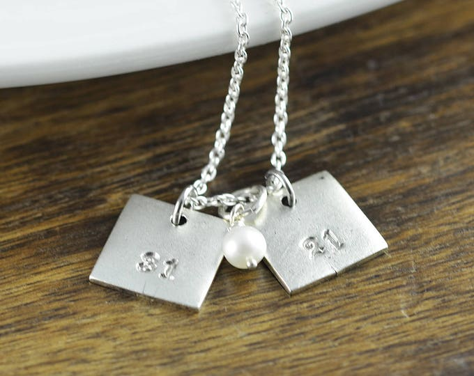 Number Necklace, Number Charm, Square Necklace, Personalized Necklace for Mom - Children's Initial Necklace - Push Present - Mommy Jewelry