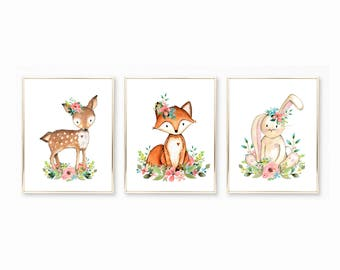 Nursery Art. Woodland Deer. Woodland Fox. Woodland Bunny. Printable Watercolor Nursery Prints. Baby Girl Printables. Nursery Art for girls.