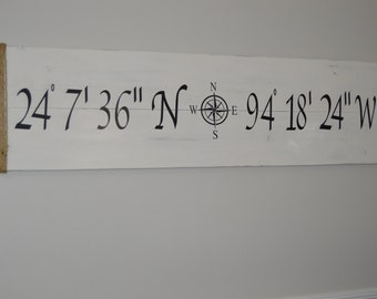 "Large Latitude longitude sign.  Rustic home decor.  Nautical decor.  GPS coordinates. 10"" x 30"""