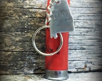 Alabama Keychain - Roll Tide - Crimson Tide - Alabama Gifts - Shotgun Shell Keychain - 12 or 20 Gauge Shotgun Shell - Car Accessories - AL
