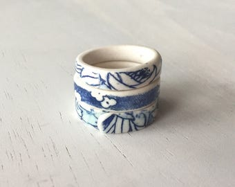 Porcelain Ring // Ceramic // Blue & White Floral// Size 6, 7 // Unique // Gift for Her // Jewelry //  FREE SHIPPING