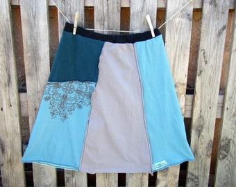 T-shirt skirt, Up-cycled skirt, Bohemian skirt, Boho, Women's Medium, Hippie skirt, Recycled t-shirt skirt, Blue skirt, Montana Threadscape
