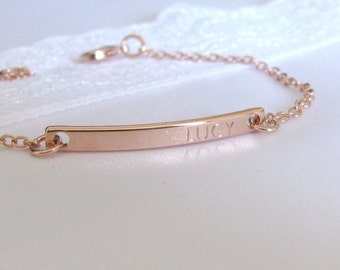 Custom Bar Bracelet, Rose Gold Personalized Bracelet, Name Bracelet, Gold Bar, Engraved Bracelet, Gift For Mom, Gift For Her, Bridesmaid