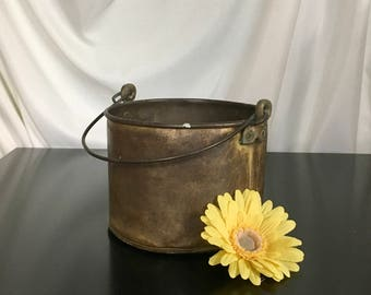 Primitive Brass Bucket w/ Handle - Antique Brass Pail - Farmhouse, Rustic Decor