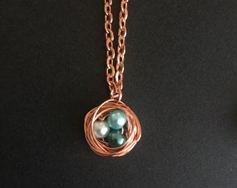 Copper nest wire wrap necklace