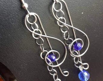 Blue Music note earrings