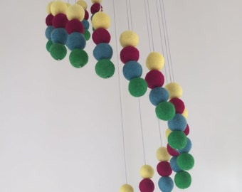 Handmade Baby Mobile - Baby Crib Mobile - Felt Baby Mobile - Baby Cot Mobile - Nursery Decor - Double Ball Pattern