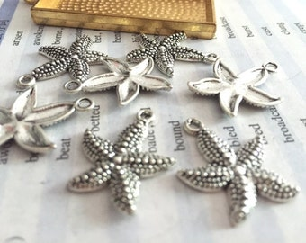 wholesale 100 Pieces /Lot Antique Silver Plated 23mmx18mm starfish charms