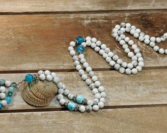 Howlite Mat Mala Necklace Boho Style. Yoga. Meditation. Ideas for her. Boho Jewelry. Bohemian Necklace. Tassel Necklace