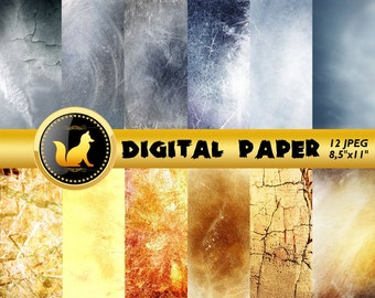 Gold Grey Distressed Background,Old Wall Scrapbook Paper,white Paper,Chilled paint Background,Old Wall Backdrop,digital paper,grey paper