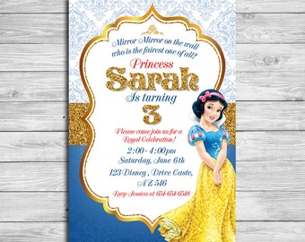 Snow White Invitation, Princess Snow White, Snow White Birthday Invitation, Snow White Birthday Party, Snow White Thank You Card | MSN_2