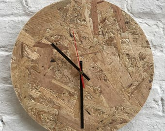 Wall clock, contemporary, home living, unique, industrial, OSB
