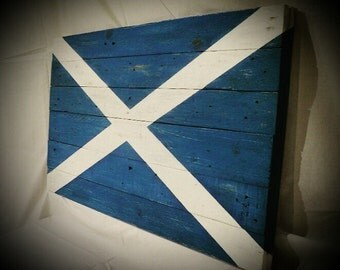 Scottish flag on distressed wood pallet