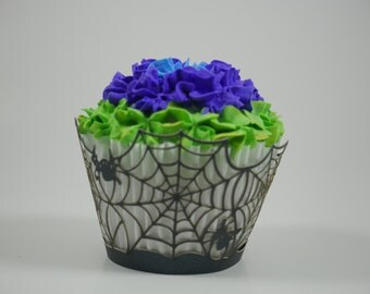 Laser cupcake wrappers, Spider web cupcake wrappers, Birthday cupcake wrappers, Birthday cupcake wrapper, Halloween theme