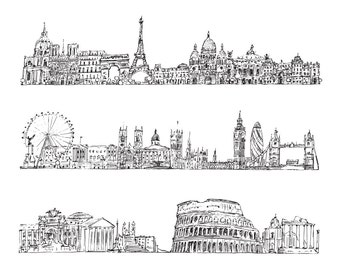 3 Famous Cities Architecture Sketching Drawing Poster Clip Art Digital Download PNG High Resolution V36
