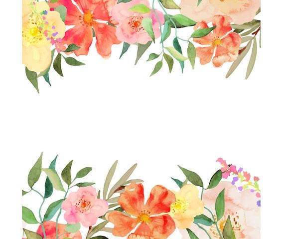 Watercolour Flower Frame Background Clip Art Graphic ...