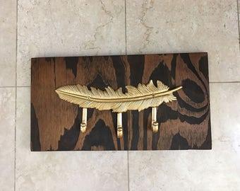 Repurposed Wood Gold Feather Wall Hook Coat Rack Key Hanger