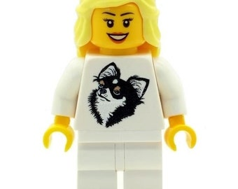 Custom Design Minifigure - Girl with Chihuahua Dog T-Shirt (Jumper) Printed On LEGO Parts