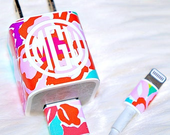 iPhone Charger Wrap Monogrammed Decal - 3 Piece Set