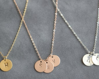 Customized circle necklace, initial necklace, small disc necklace , bridesmaid gift, gift necklace, mom necklace, gift for mom
