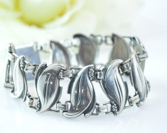 Curvy Leaf Link Bracelet Sterling Silver 23g