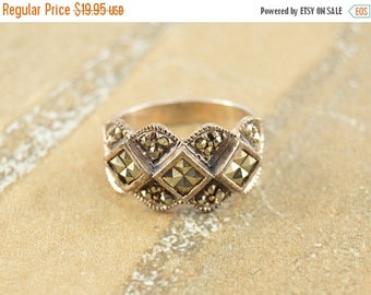 On Sale Ornate Marcasite Encursted Checkered Scalloped Ring Size 6.75 Sterling Silver 5.3g Vintage Estate