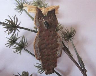Ornament, Christmas, Owl, Pottery, Ceramic, Handmade