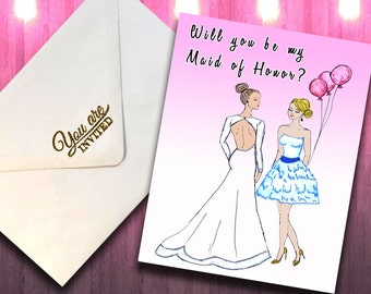 Bridesmaid Proposal PDF Card, Will You Be My Bridesmaid, Maid of Honor Gift, Maid of Honor Printable PDF Download, Ask Maid of Honor