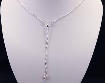90cm 925 Sterling Silver Slider Necklace