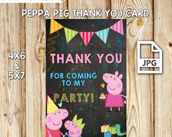 Peppa Pig Thank You, Peppa Pig Party, Peppa Pig Birthday, Peppa Pig Printable, INSTANT DOWNLOAD, Peppa Pig Invites, 2 JPG Files 5x7 & 4x6