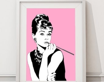 Audrey Hepburn, Breakfast at Tiffany Art Print Poster Instant Download Large Art Print, Vintage Retro Poster, Wall Art, Blush Pink Portraits