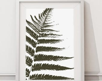 Fern Fronds, Large Minimalist Modern Tropical Bortanical Art Print, Nature Plant Leaves Wall Art Instant Print for Home and Office Decor
