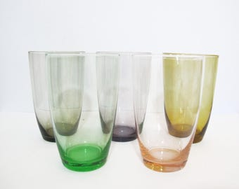 Vintage Retro Coloured Drinking Glasses Set of 5