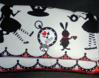 Wonderfully Whimsical Black Red and White Alice in Wonderland Wristlet Clutch Wallet