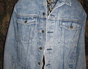 ship free Stonewashed blue jean coat  size