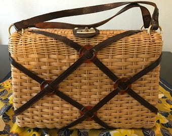 Vintage Rattan and Leather Purse by Mr Jonas Hong Kong