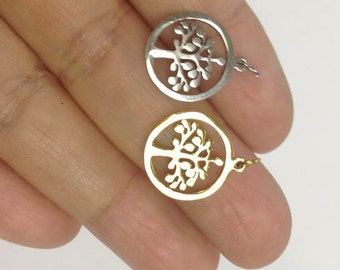 4 Stainless Steel Tree of Life Charm, gold or silver Tree Of Life charm, Stainless Charm