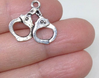 10 pieces Handcuffs charm, Police charm