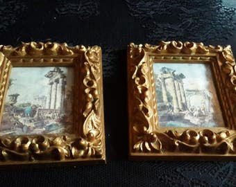 vintage antiqued Gold Resin Made in Italy distressed prints in baroque Frames