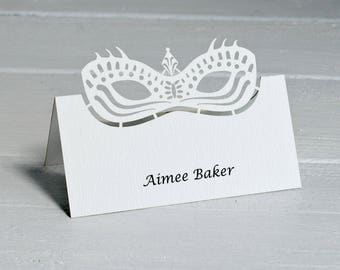 Printed Masquerade Ball Name Place Cards Printed with Guest Names (Pack of 10)