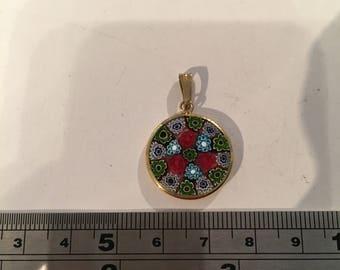Murano Glass Flower Charm- Gold Plate Setting