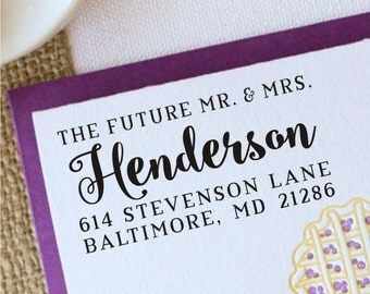 Future Mr and Mrs Stamp, Personalized Mr and Mrs Rubber Stamp, Custom Mr and Mrs Wedding Address Stamp, 1040
